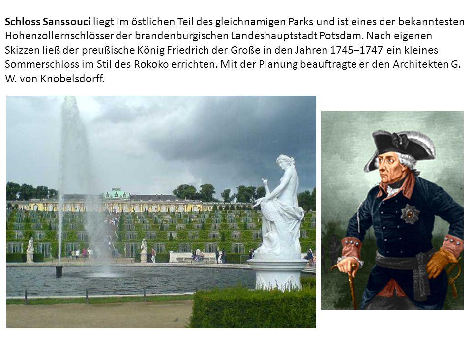 Schloss Sanssouci liegt im östlichen Teil des gleichnamigen Parks und ist eines der bekanntesten Hohenzollernschlösser der brandenburgischen Landeshau