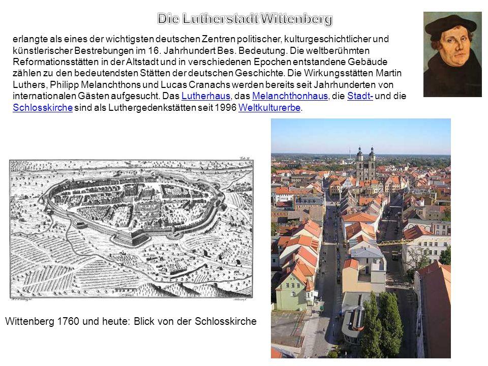 erlangte als eines der wichtigsten deutschen Zentren politischer, kulturgeschichtlicher und künstlerischer Bestrebungen im 16. Jahrhundert Bes. Bedeut