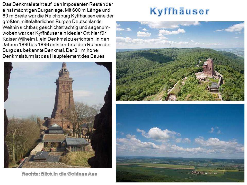 Das Denkmal steht auf den imposanten Resten der einst mächtigen Burganlage. Mit 600 m Länge und 60 m Breite war die Reichsburg Kyffhausen eine der grö