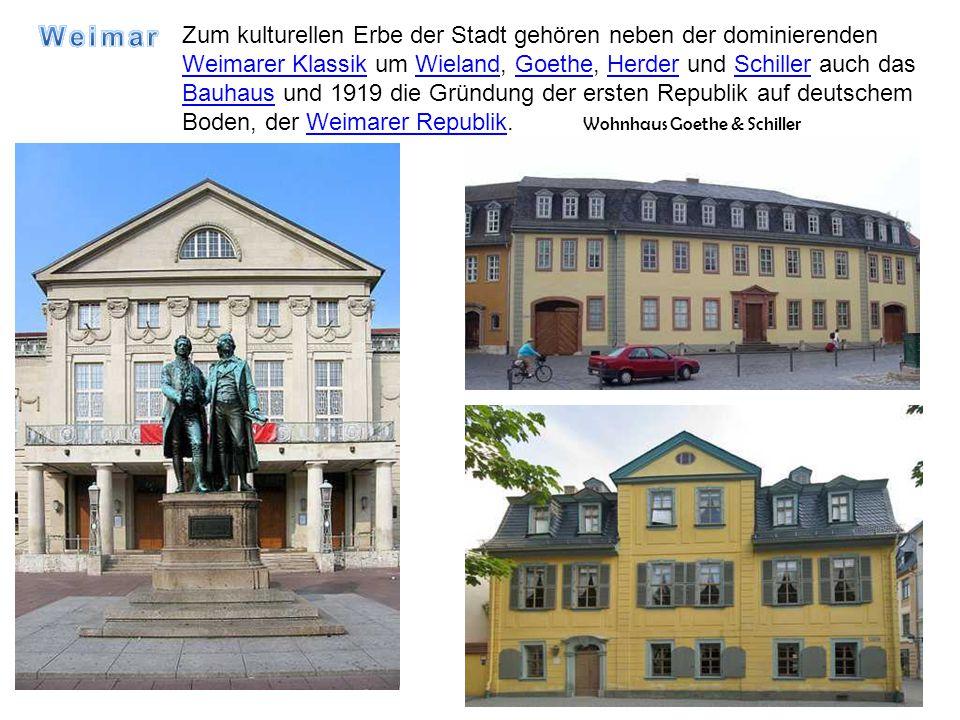 Zum kulturellen Erbe der Stadt gehören neben der dominierenden Weimarer Klassik um Wieland, Goethe, Herder und Schiller auch das Bauhaus und 1919 die Gründung der ersten Republik auf deutschem Boden, der Weimarer Republik.