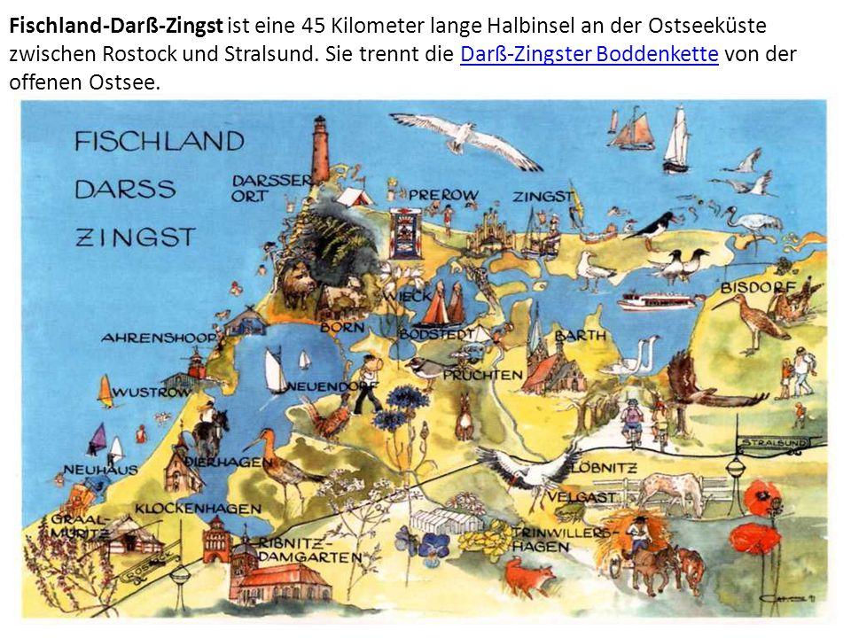 Fischland-Darß-Zingst ist eine 45 Kilometer lange Halbinsel an der Ostseeküste zwischen Rostock und Stralsund. Sie trennt die Darß-Zingster Boddenkett