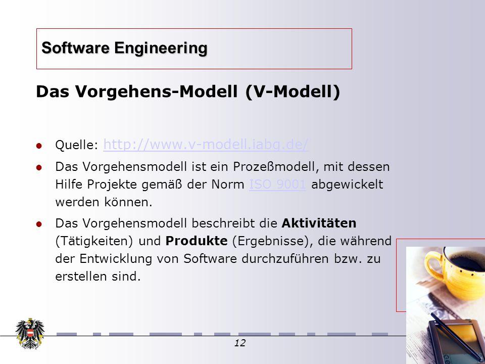 12 Software Engineering Das Vorgehens-Modell (V-Modell)  Quelle: http://www.v-modell.iabg.de/ http://www.v-modell.iabg.de/ Das Vorgehensmodell ist ein Prozeßmodell, mit dessen Hilfe Projekte gemäß der Norm ISO 9001 abgewickelt werden können.ISO 9001 Das Vorgehensmodell beschreibt die Aktivitäten (Tätigkeiten) und Produkte (Ergebnisse), die während der Entwicklung von Software durchzuführen bzw.