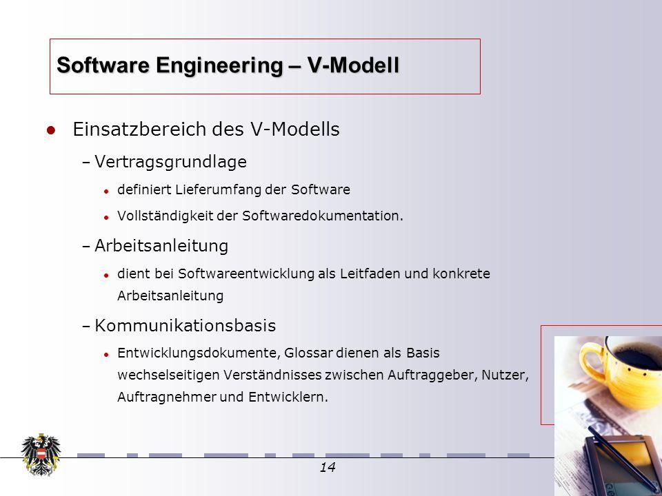 14 Software Engineering – V-Modell Einsatzbereich des V-Modells – Vertragsgrundlage definiert Lieferumfang der Software Vollständigkeit der Softwaredokumentation.