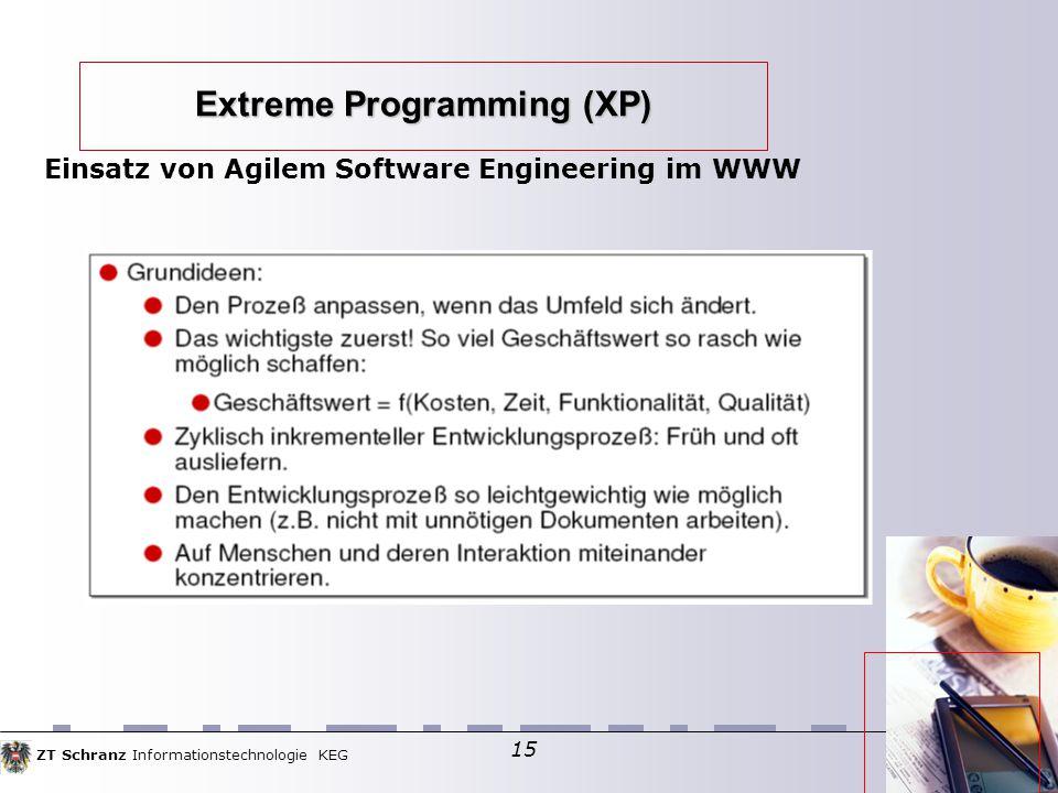 ZT Schranz Informationstechnologie KEG 15 Extreme Programming (XP) Einsatz von Agilem Software Engineering im WWW