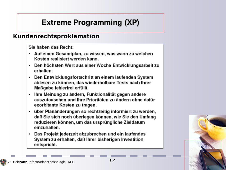 ZT Schranz Informationstechnologie KEG 17 Extreme Programming (XP) Kundenrechtsproklamation