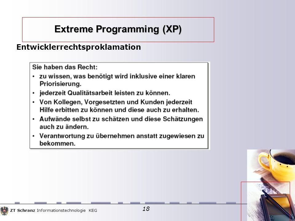 ZT Schranz Informationstechnologie KEG 18 Extreme Programming (XP) Entwicklerrechtsproklamation