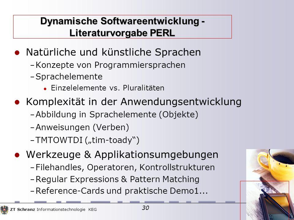 ZT Schranz Informationstechnologie KEG 30 Natürliche und künstliche Sprachen – Konzepte von Programmiersprachen – Sprachelemente Einzelelemente vs.