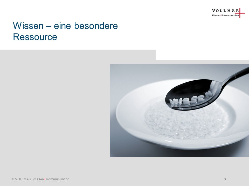 4 © VOLLMAR Wissen+Kommunikation Platzhalter für Fotos Warum Wissensmanagement ein Thema ist .