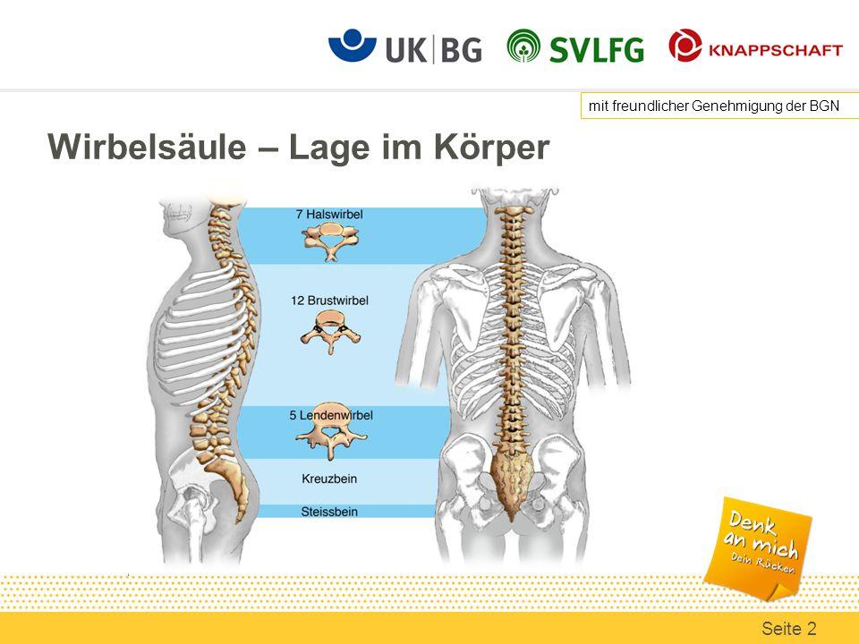 Wirbelsäule – Lage im Körper mit freundlicher Genehmigung der BGN Seite 2