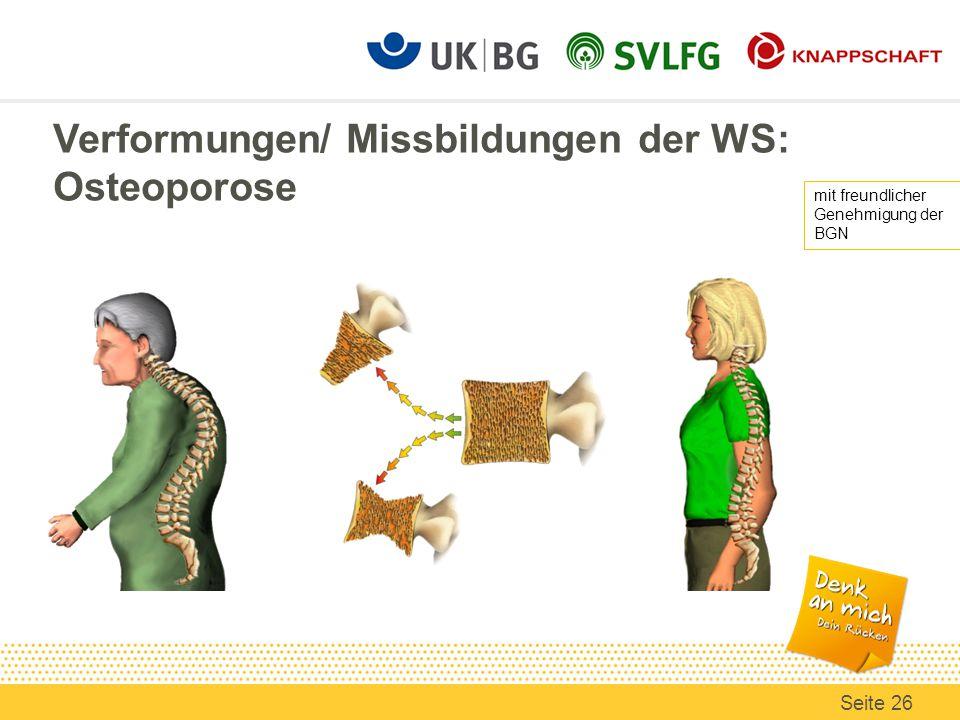 Verformungen/ Missbildungen der WS: Osteoporose mit freundlicher Genehmigung der BGN Seite 26