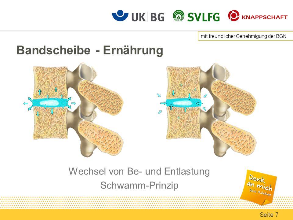 Bandscheibe - Druckbelastung im Alltag Druck in der unteren LWS mit freundlicher Genehmigung der BGN Seite 8