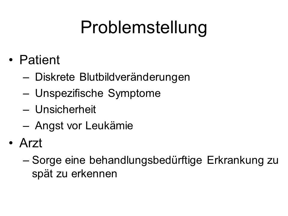 Problemstellung Patient – Diskrete Blutbildveränderungen – Unspezifische Symptome – Unsicherheit – Angst vor Leukämie Arzt –Sorge eine behandlungsbedü