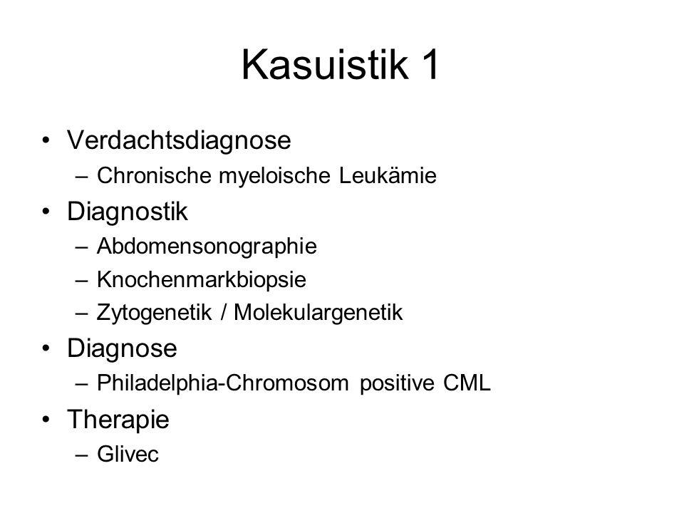 Kasuistik 1 Verdachtsdiagnose –Chronische myeloische Leukämie Diagnostik –Abdomensonographie –Knochenmarkbiopsie –Zytogenetik / Molekulargenetik Diagn