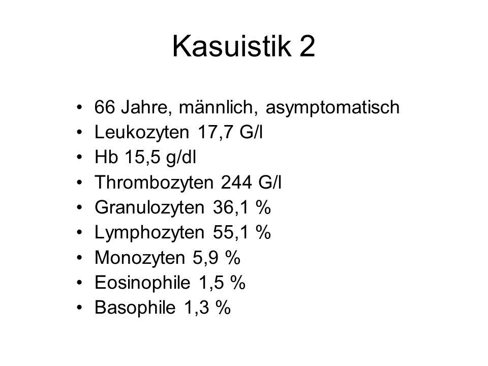 Kasuistik 2 66 Jahre, männlich, asymptomatisch Leukozyten 17,7 G/l Hb 15,5 g/dl Thrombozyten 244 G/l Granulozyten 36,1 % Lymphozyten 55,1 % Monozyten