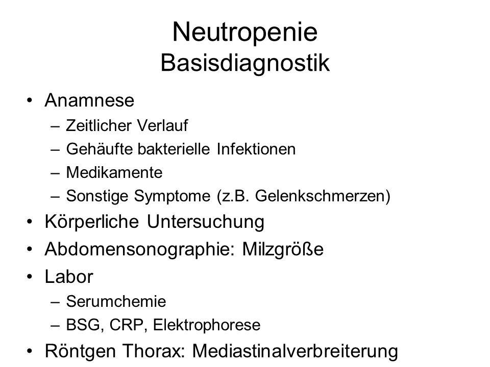 Neutropenie Basisdiagnostik Anamnese –Zeitlicher Verlauf –Gehäufte bakterielle Infektionen –Medikamente –Sonstige Symptome (z.B. Gelenkschmerzen) Körp