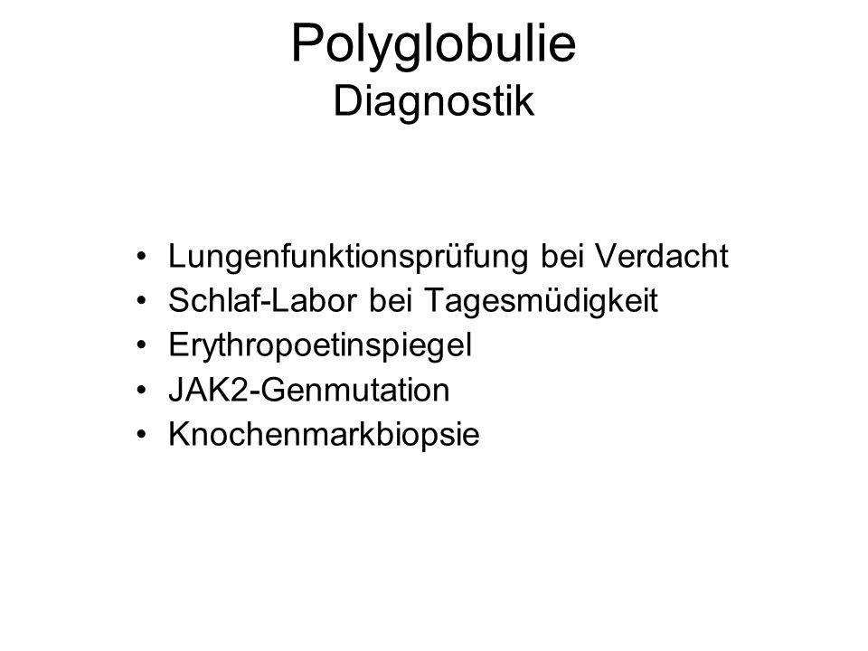 Polyglobulie Diagnostik Lungenfunktionsprüfung bei Verdacht Schlaf-Labor bei Tagesmüdigkeit Erythropoetinspiegel JAK2-Genmutation Knochenmarkbiopsie