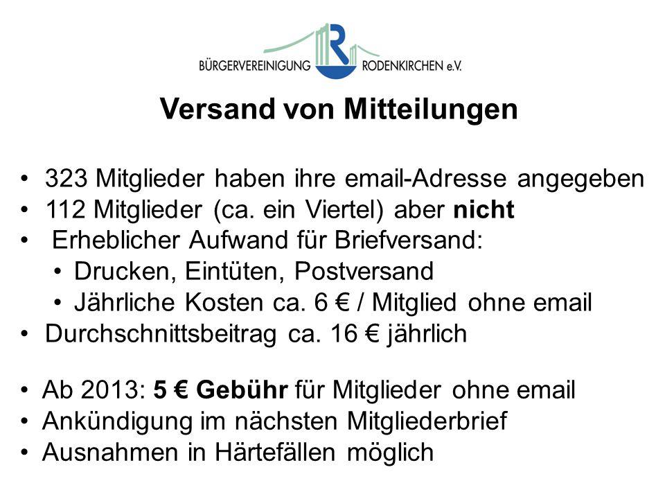 Versand von Mitteilungen 323 Mitglieder haben ihre email-Adresse angegeben 112 Mitglieder (ca.