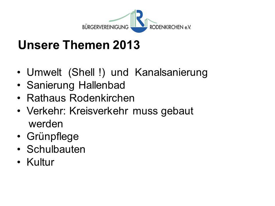 Unsere Themen 2013 Umwelt (Shell !) und Kanalsanierung Sanierung Hallenbad Rathaus Rodenkirchen Verkehr: Kreisverkehr muss gebaut werden Grünpflege Schulbauten Kultur