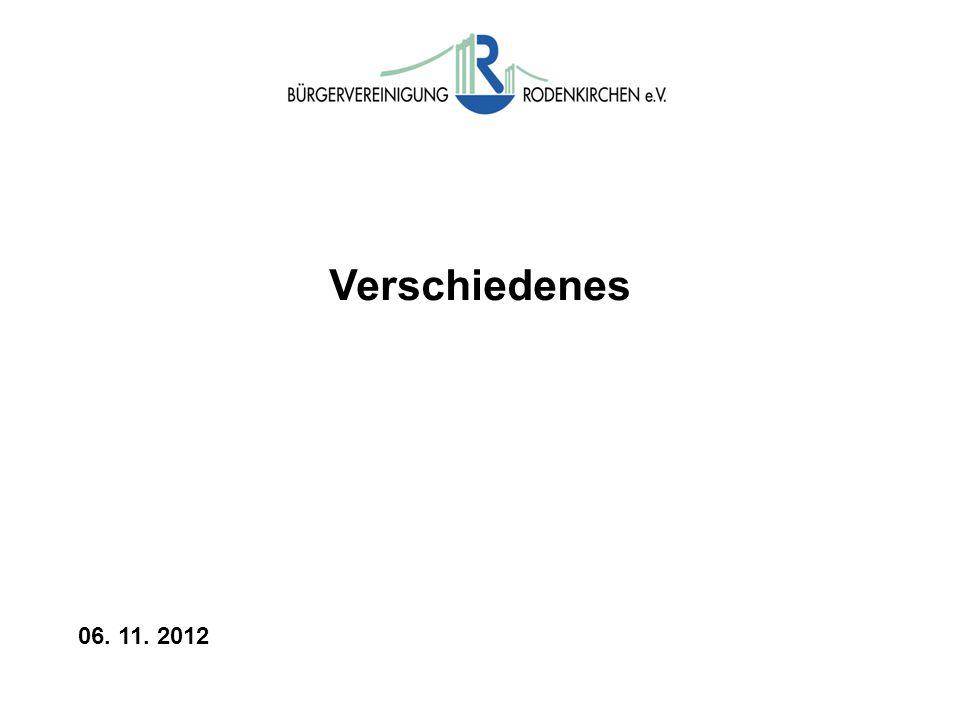 Verschiedenes 06. 11. 2012