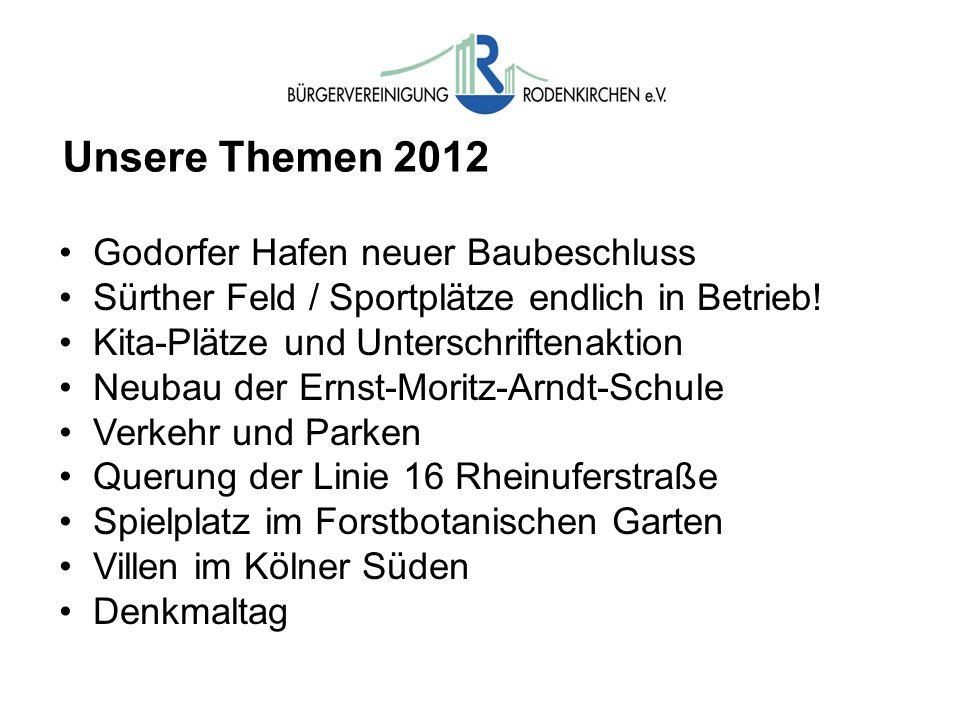 Unsere Themen 2012 Godorfer Hafen neuer Baubeschluss Sürther Feld / Sportplätze endlich in Betrieb! Kita-Plätze und Unterschriftenaktion Neubau der Er