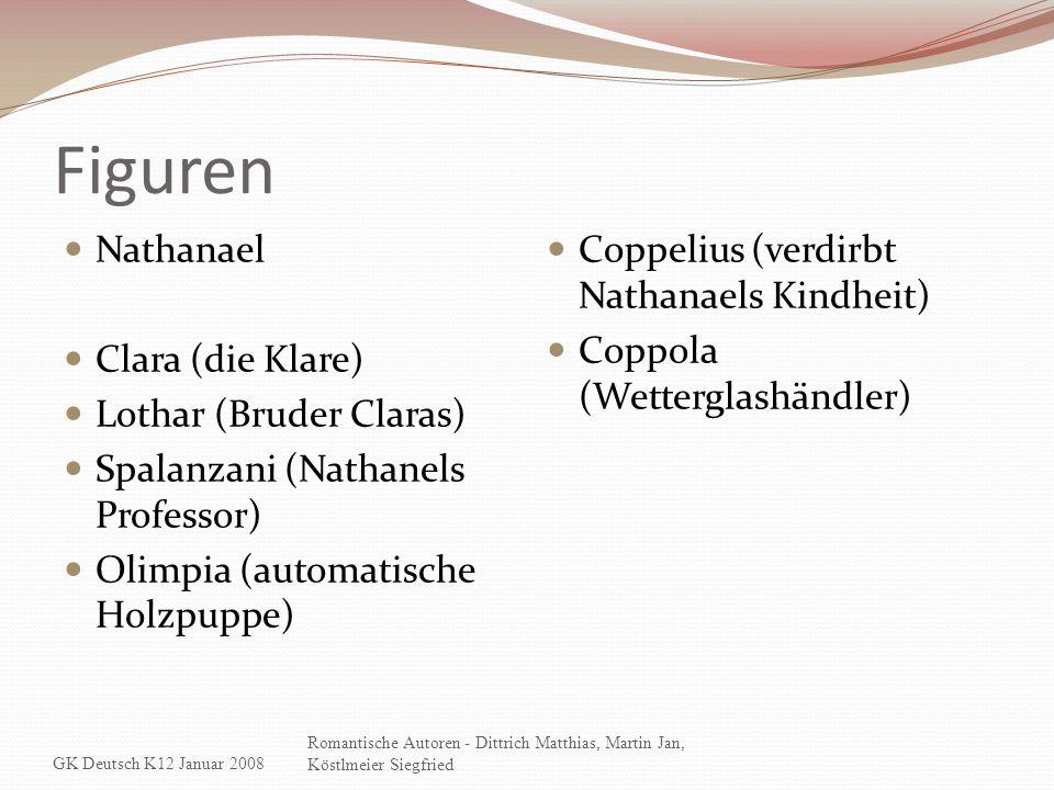 Figuren Nathanael Clara (die Klare) Lothar (Bruder Claras) Spalanzani (Nathanels Professor) Olimpia (automatische Holzpuppe) Coppelius (verdirbt Natha