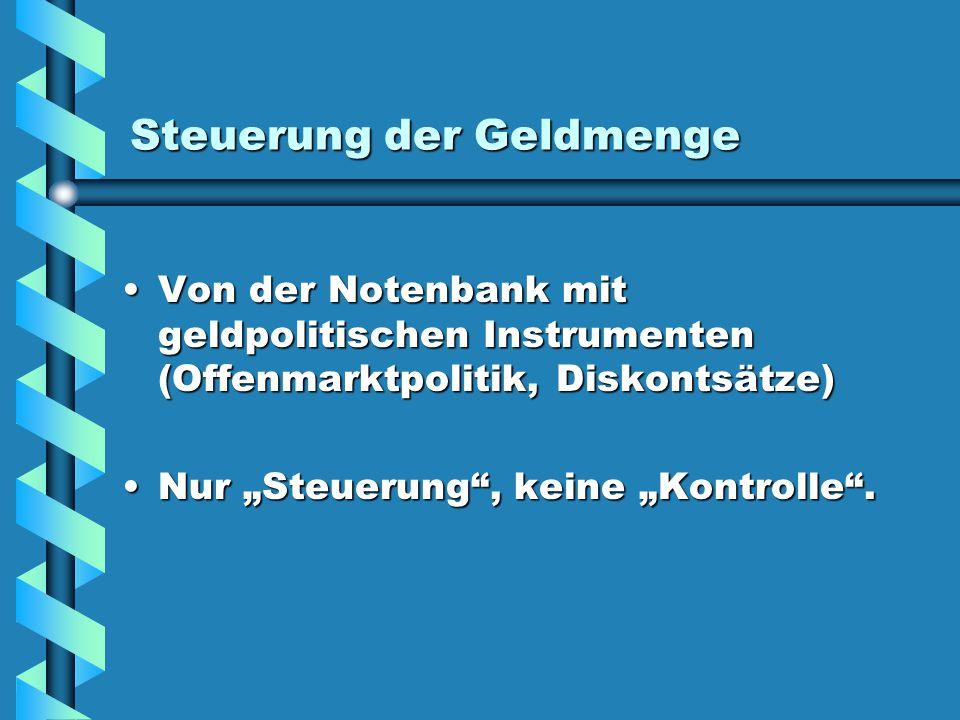 Steuerung der Geldmenge Von der Notenbank mit geldpolitischen Instrumenten (Offenmarktpolitik, Diskontsätze)Von der Notenbank mit geldpolitischen Inst