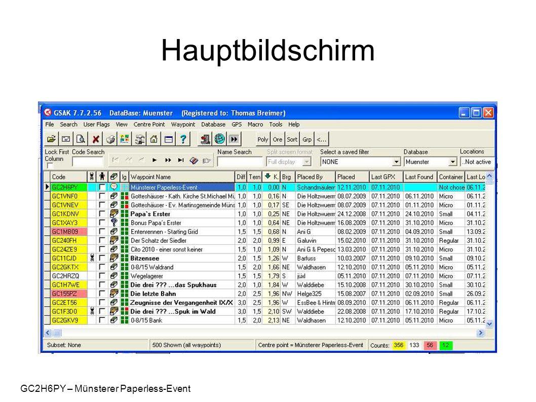 GC2H6PY – Münsterer Paperless-Event Hauptbildschirm