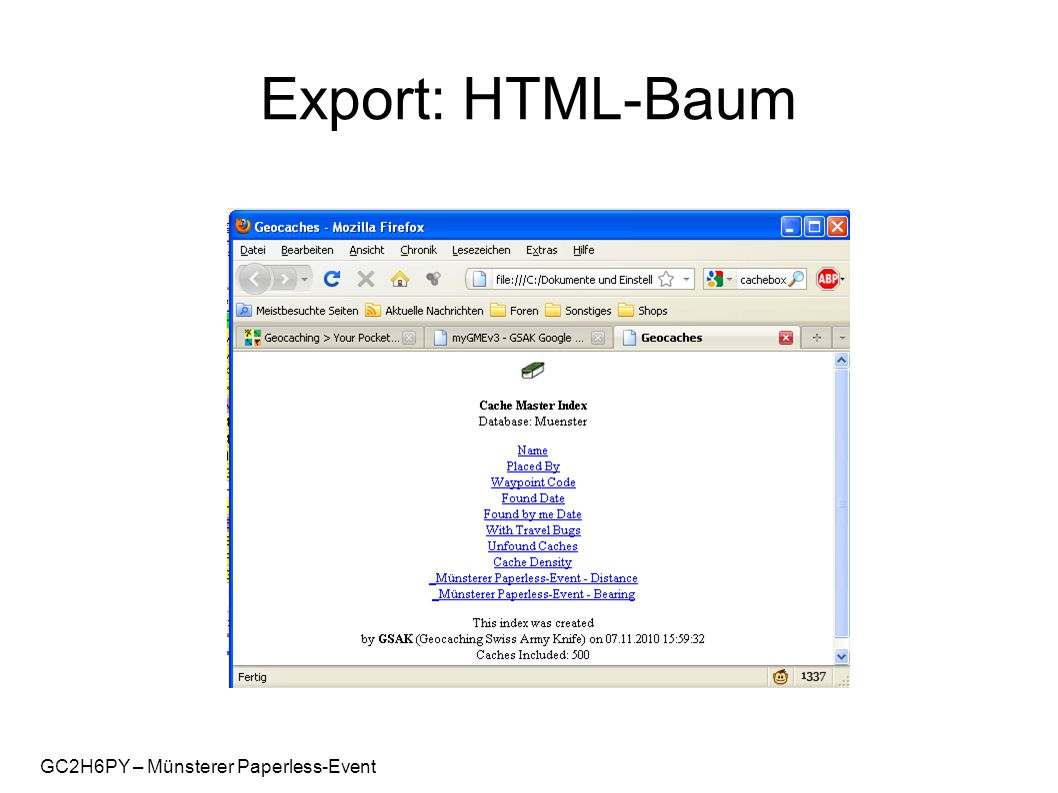 GC2H6PY – Münsterer Paperless-Event Export: HTML-Baum