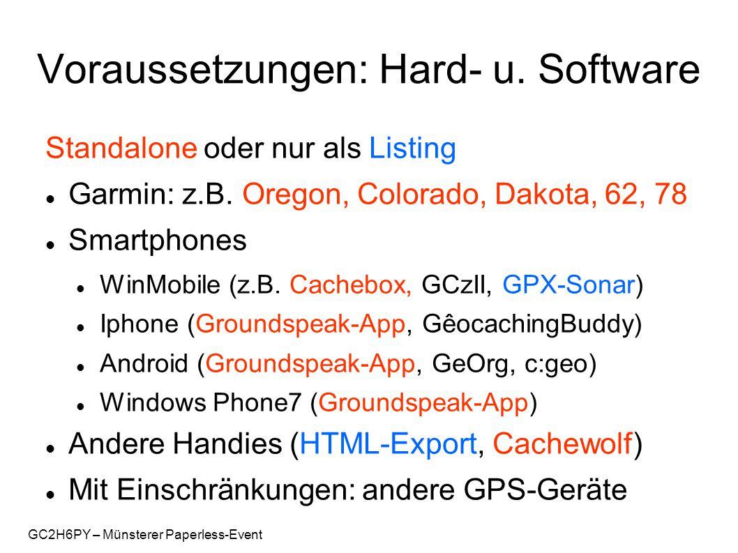 GC2H6PY – Münsterer Paperless-Event Grenzen Berechnungen bei Multis Druckoptimierte Listings Fotos / Grafiken (Sichtbarkeit) Veraltete Daten (regelmäßiges Update!)