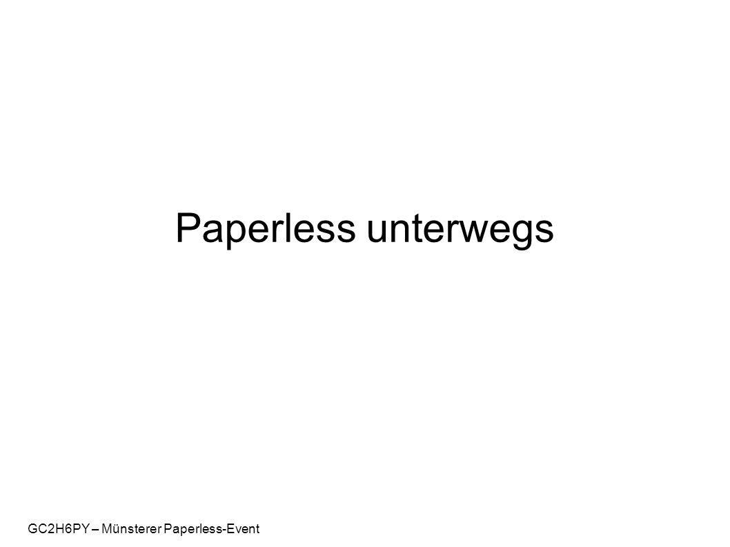 GC2H6PY – Münsterer Paperless-Event Cachebox als Standalone-Lösung Windows Mobile Nutzung des eingebauten GPS-Empfängers Import von GPX-Dateien Landkarten Onlineanzeige (OSM) Landkarten Offlineanzeige per Hilfsprogramm Beispielkonfiguration