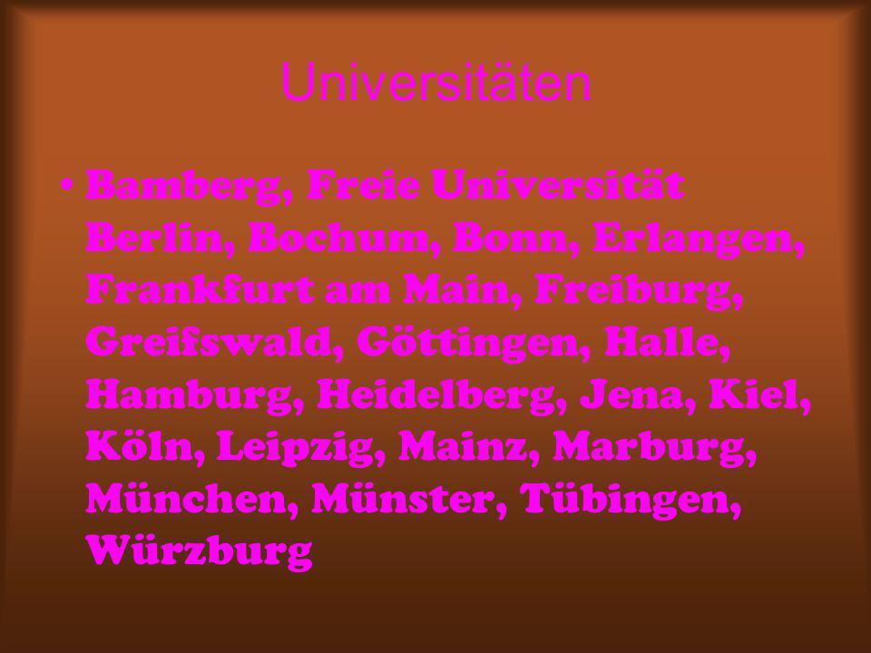 Universitäten Bamberg, Freie Universität Berlin, Bochum, Bonn, Erlangen, Frankfurt am Main, Freiburg, Greifswald, Göttingen, Halle, Hamburg, Heidelberg, Jena, Kiel, Köln, Leipzig, Mainz, Marburg, München, Münster, Tübingen, Würzburg