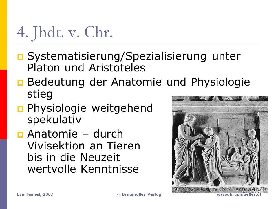 Eva Teimel, 2007© Braumüller Verlagwww.braumueller.at 4. Jhdt. v. Chr.  Systematisierung/Spezialisierung unter Platon und Aristoteles  Bedeutung der