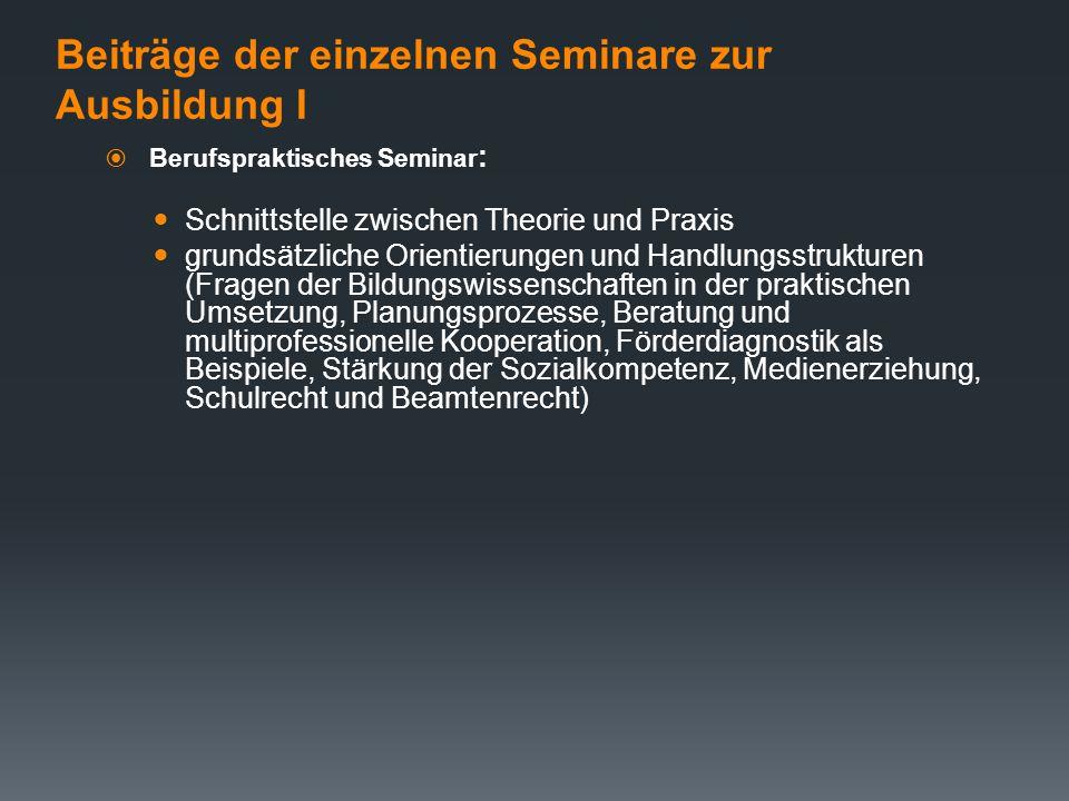 Vorgaben der LVO  Ausbildung im Studienseminar -Berufspraktische Seminare ( 26 AE/QU 34 AE) -Fachdidaktische Seminare für Schwerpunkte sonderpädagogi
