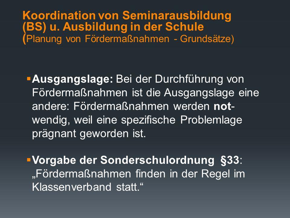Koordination von Seminarausbildung (BS) u. Ausbildung in der Schule (Schritte zur Planung von Unterricht 2)  Bewusstmachung der lehrerbezogenen Inter