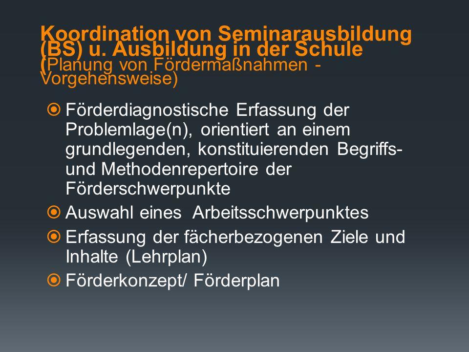 Koordination von Seminarausbildung (BS) u. Ausbildung in der Schule ( Planung von Fördermaßnahmen - Grundsätze)  Ausgangslage: Bei der Durchführung v