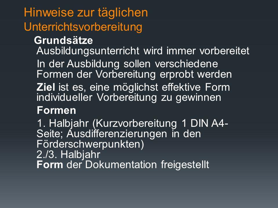 Koordination von Seminarausbildung (BS) u. Ausbildung in der Schule ( Planung von Fördermaßnahmen - Vorgehensweise)  Förderdiagnostische Erfassung de