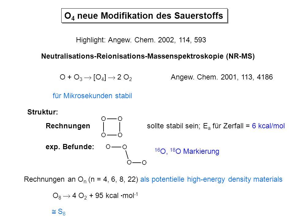 O 4 neue Modifikation des Sauerstoffs Highlight: Angew. Chem. 2002, 114, 593 Neutralisations-Reionisations-Massenspektroskopie (NR-MS) O + O 3  [O 4