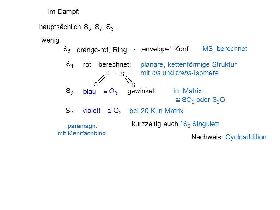 wenig: S5S5 orange-rot, Ring  'envelope' Konf. MS, berechnet S4S4 rotberechnet:planare, kettenförmige Struktur mit cis und trans-Isomere S3S3 blau 