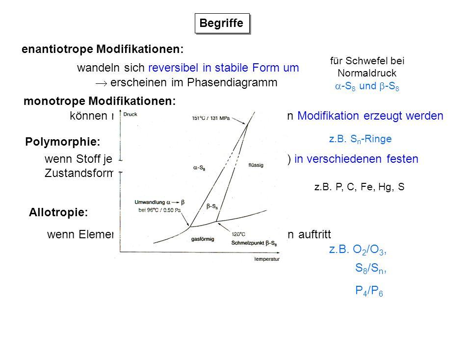 Polymorphie: wenn Stoff je nach Zustandsbedingungen (T, p) in verschiedenen festen Zustandsformen (Modifikationen) auftritt Allotropie: wenn Element i