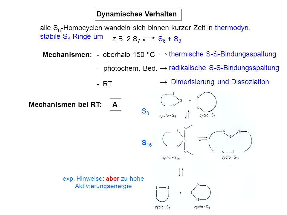 Dynamisches Verhalten alle S n -Homocyclen wandeln sich binnen kurzer Zeit in thermodyn. stabile S 8 -Ringe um z.B. 2 S 7 S 6 + S 8 Mechanismen: - obe