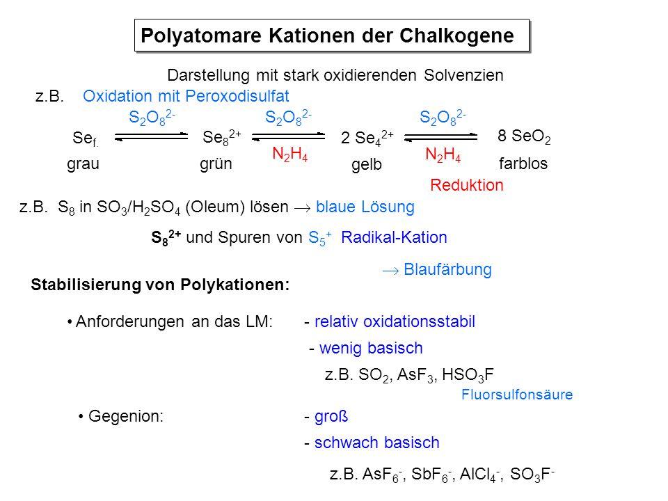 Polyatomare Kationen der Chalkogene Darstellung mit stark oxidierenden Solvenzien z.B. S 8 in SO 3 /H 2 SO 4 (Oleum) lösen  blaue Lösung S 8 2+ und S
