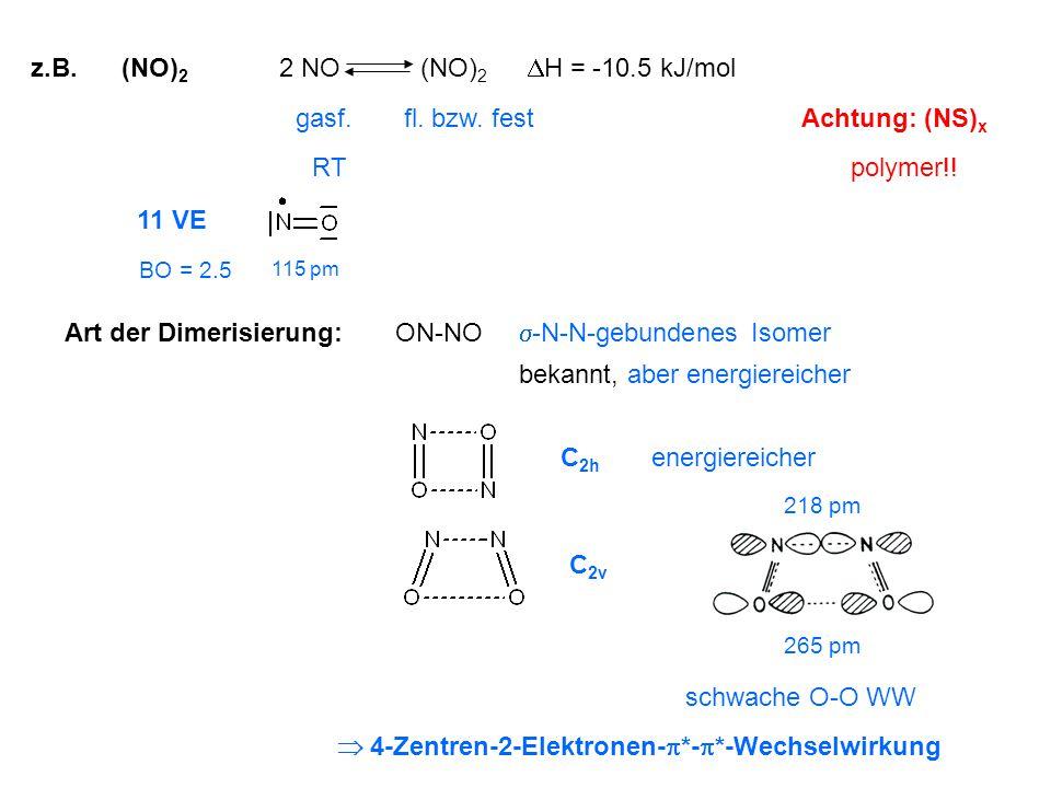 z.B. (NO) 2 ON-NO bekannt, aber energiereicher  -N-N-gebundenes Isomer 2 NO (NO) 2 fl. bzw. fest Art der Dimerisierung: Achtung: (NS) x schwache O-O
