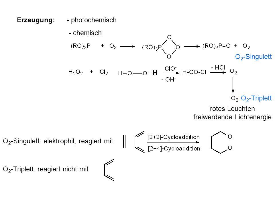 Erzeugung:- photochemisch - chemisch O 2 -Singulett: elektrophil, reagiert mit O 2 -Triplett: reagiert nicht mit O 2 -Singulett O 2 -Triplett rotes Le
