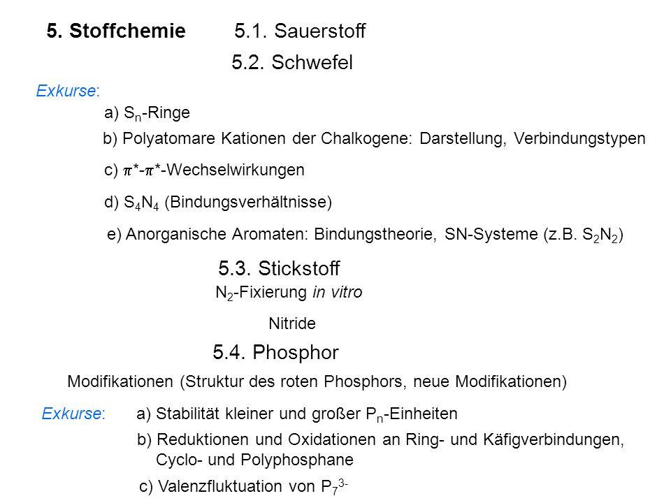 5. Stoffchemie5.1. Sauerstoff 5.2. Schwefel Exkurse: a) S n -Ringe b) Polyatomare Kationen der Chalkogene: Darstellung, Verbindungstypen c)  *-  *-W