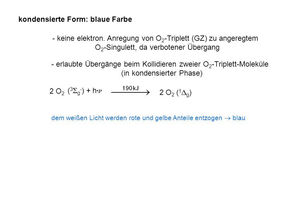 kondensierte Form: blaue Farbe - keine elektron. Anregung von O 2 -Triplett (GZ) zu angeregtem O 2 -Singulett, da verbotener Übergang - erlaubte Überg