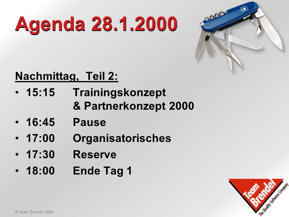 © Team Brendel 2000 Update TB-Outfit Neue Präsentationslayouts Demo und Ausbildung