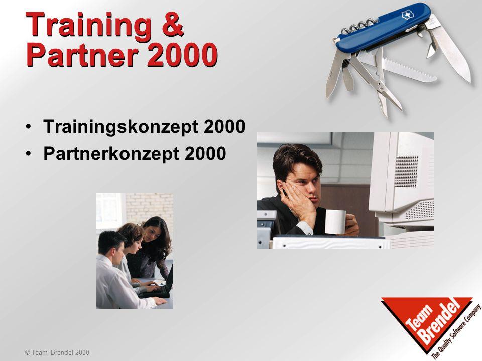 © Team Brendel 2000 Agenda 28.1.2000 Nachmittag, Teil 2: 15:15Trainingskonzept & Partnerkonzept 2000 16:45Pause 17:00Organisatorisches 17:30Reserve 18:00Ende Tag 1