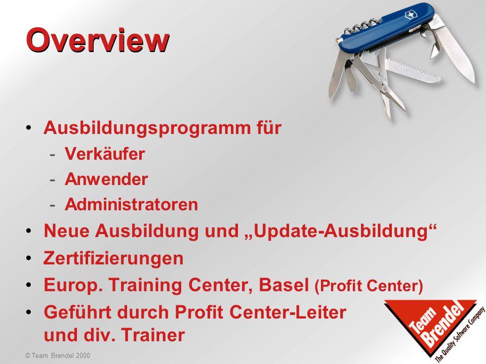 © Team Brendel 2000 Trainingskonzept 2000 Ausgangslage mehr Aufträge mehr Consultants (intern/extern) schnellere Ausbildung komplexere Produkte mehr A