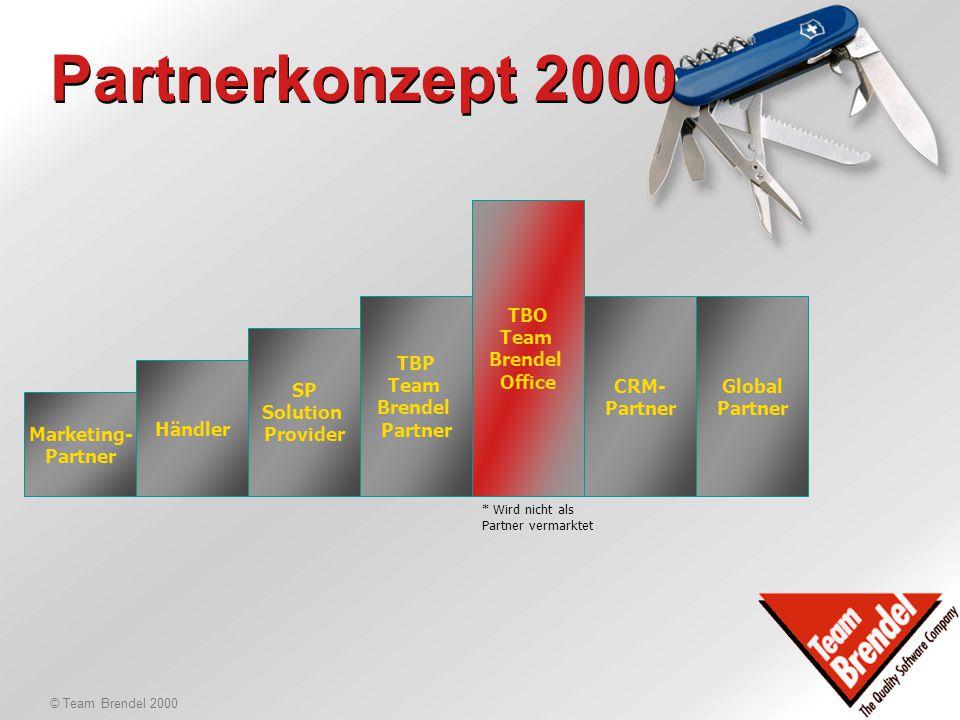 © Team Brendel 2000 Partnerkonzept 2000 Ausgangslage mehr Sales-Power hat jemand übrige Sales-Zeit? mehr Implementationskapazitäten hat jemand übrige
