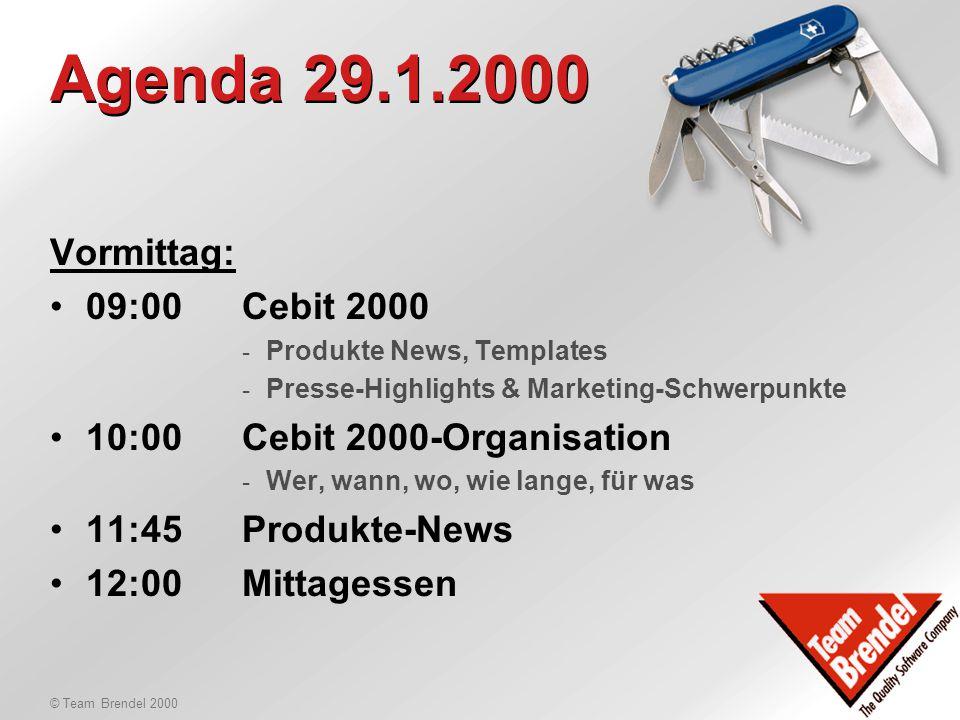 © Team Brendel 2000 Organisatorisches Neus TBCAS: -Fragen? -Antworten! Neue Ansätze in CH: -CHF 270.- / Std. (DEM 340.-) -CHF 213.75.-/Std. (DEM 270.-